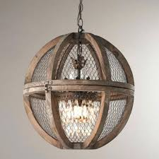 white wood orb chandelier