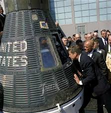 best space exploration images space exploration astronaut john glenn right shows president kennedy his friendship 7 space capsule at cape