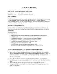 ... project management team leader job description program manager job  description Project Manager Resume Sample