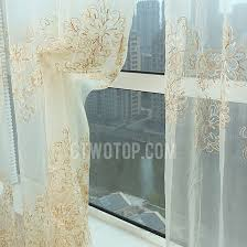gold and beige luxury embroidered fl sheer curtain