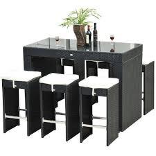 rattan wicker bar stool dining table