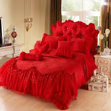 Red Girls Lace Tulle Ruffle Flowers Jacquard Full Queen King Bedding Sets  For Christmas