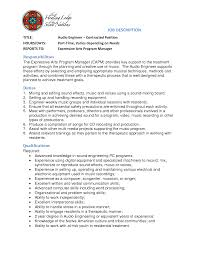 Audio Engineer Cover Letter Contract Position Job description