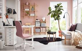 ikea office design ideas. Exellent Ikea A Pink And White Home Office With A Sitstand SKARSTA Desk In Ikea Office Design Ideas I