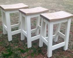 Custom Saddle Seat Bar Stools Backless Stools Kitchen Stools Rustic  Paint to