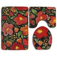 watercolor red poppy flower 3 piece bathroom rug set bath rug contour mat lid cover