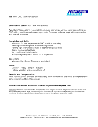Refrence Sample Resume For Cnc Milling Machine Operator