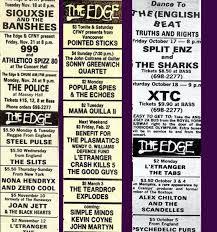 Vintage 1980 Concert Listing For Toronto Club The Edge