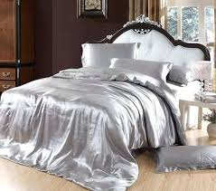 silver duvet cover bedding sets grey silk satin super king size queen double fitted bed sheets grey and white duvet cover