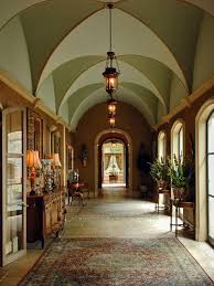 Traditional Hallway with Pendant Light, Groin vaulted ceiling, French  doors, interior wallpaper,