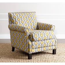abbyson chloe yellow pattern club chair