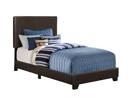 monarch specialties inc monarch specialties dark brown leather look twin bed frame image 1 zoomed image