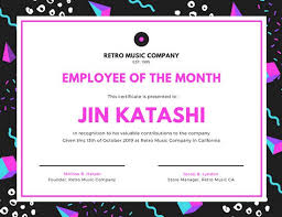 Free Employee Of The Month Certificate Template Adorable Customize 485480 Employee Of The Month Certificate Templates Online
