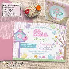 Print Birthday Invitation Cute Little Bird Birthday Party Invitations Birdies Garden Diy Printable Birthday Invite