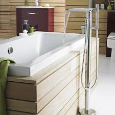 Luxurious Bathroom With Freestanding Tub Exposed White Acrylic Free Standing Tub With Shower