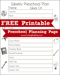 FREE Printable Preschool Planning Page | Preschool curriculum ...