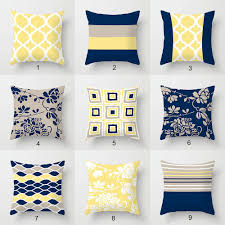 Image Bed Pillows Click Here To Enlarge Julia Bars Art Navy Blue Yellow And Gray Throw Pillow Covers Geometric Lumbar Pillows