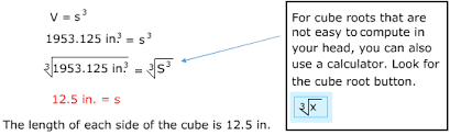 volume equation cube. determine the side length of a cube with volume 1953.125 in.3 equation