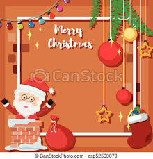 Christmas Card Template With Santa In Chimney