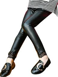 girl s faux leather leggings lace decoration leather pants share