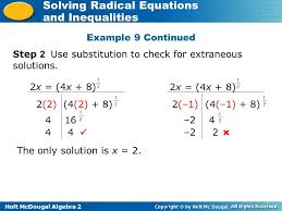 holt mcdougal algebra 2 solving radical equations and inequalities example 9 continued step 2 use substitution