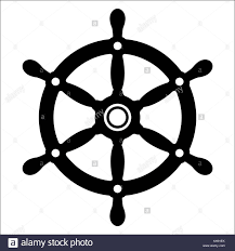 Simple silhouette of a vintage yacht or ships wheel in black and white for  use as
