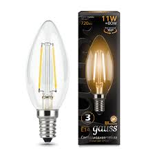 <b>Лампа Gauss LED</b> Filament <b>Свеча</b> E14 11W 720lm 2700К 1/10/50 ...
