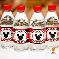 Decorating Water Bottles For Baby Shower 100pcs Mickey mouse water bottle label candy bar decoration kids 88