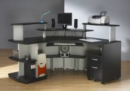 computer desk designs for home. L Shaped Computer Desk Designs For Home With Opened Shelves And Two Drawers Beneath In