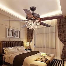 RainierLight Classical Crystal Ceiling Fan Lamp LED Light for
