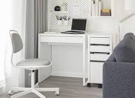 Study table ikea Ikea Micke Ikea Micke Workstation And Orfjall Swivel Chair In White Room Ikea Computer Desks Ikea