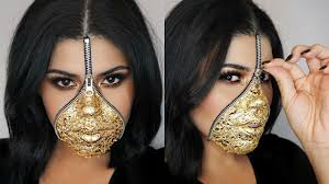 easy last minute zipper face makeup using gold leaf you