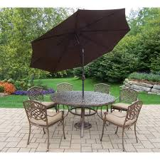 Image Mid Century 9piece Aluminum Outdoor Dining Set Sunbrella Beige Cushions And Brown Umbrellahd2205t2120c6d564005bn410115ab The Home Depot Home Depot 9piece Aluminum Outdoor Dining Set Sunbrella Beige Cushions And