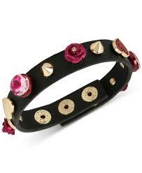 betsey johnson gold tone pink stone heart flower black leather snap bracelet
