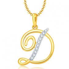 ara letter d gold and rhodium plated cz alphabet pendant