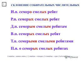 Презентация на тему ПРЕЗЕНТАЦИЯ К УРОКУ РУССКОГО ЯЗЫКА В  6 СКЛОНЕНИЕ СОБИРАТЕЛЬНЫХ ЧИСЛИТЕЛЬНЫХ