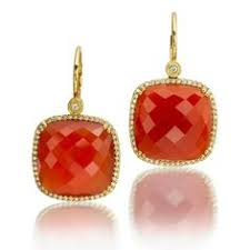 square faceted red agate leverback earrings are surrounded by round brilliant
