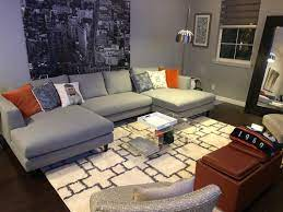 is my area rug too small for a u sectional