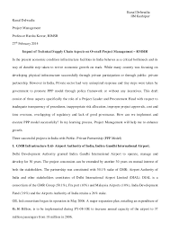 project report impact of supply management on project management ppp  kunal delwadia iim kashipur kunal delwadia project management professor harsha kestur rimsr 27th 2014