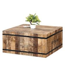 expedition rustic mango wood iron square box style