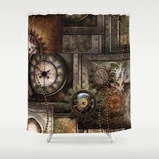 steampunk wonderful clockwork with gears shower curtain