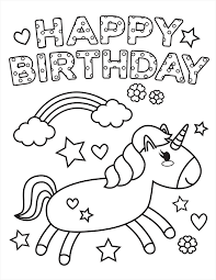 Free printable happy birthday coloring pages. Printable Unicorn Happy Birthday Coloring Page