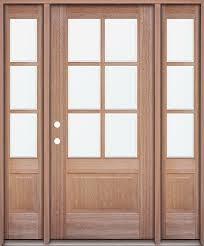 6 lite low e mahogany prehung wood door unit with sidelites