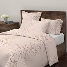 geometric duvet cover gold pink crystal