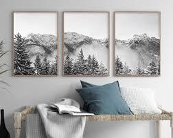 modern mountain art set of 3 prints mountain poster art black white mountain monochrome printable wall art above bed art modern nordic print on tropical wall art sets with above bed art etsy