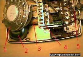 how do telephones work explain that stuff photo showing the inside workings of an antique dial telephone