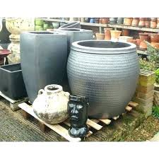 extra large plant pots garden planters metal grey glazed pot collar black plastic
