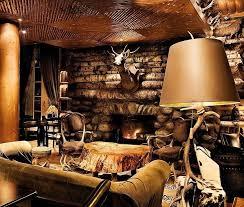 interesting lodge style living room