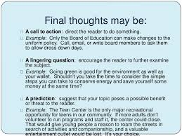 structure of an essay 14 final thoughts be a call to action