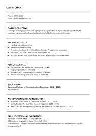 Sample Resume For Fresh Graduates It Professional Jobsdb Hong Kong